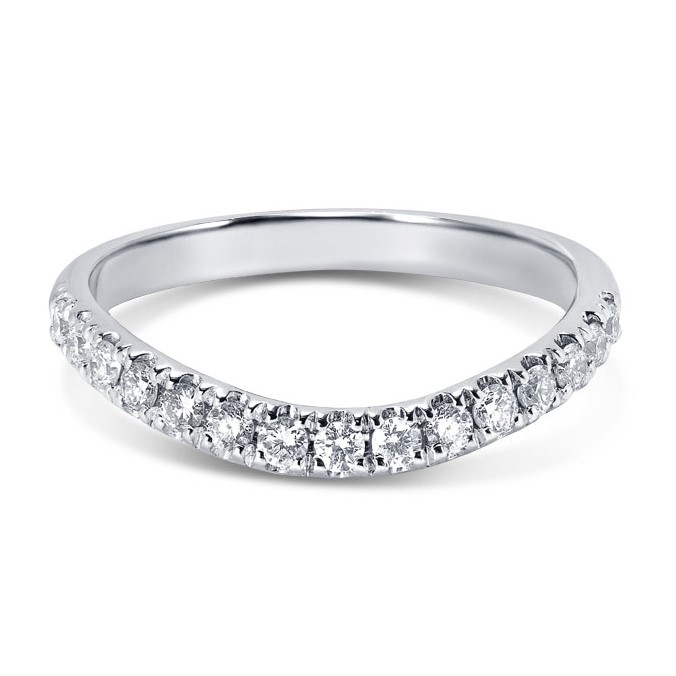 Curved Micro Set Diamond Wedding Ring