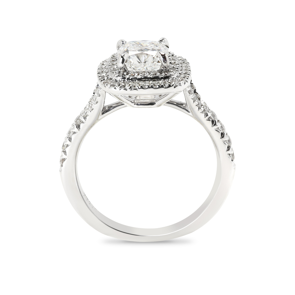 Cushion Cut Diamond Double Halo Engagement Ring