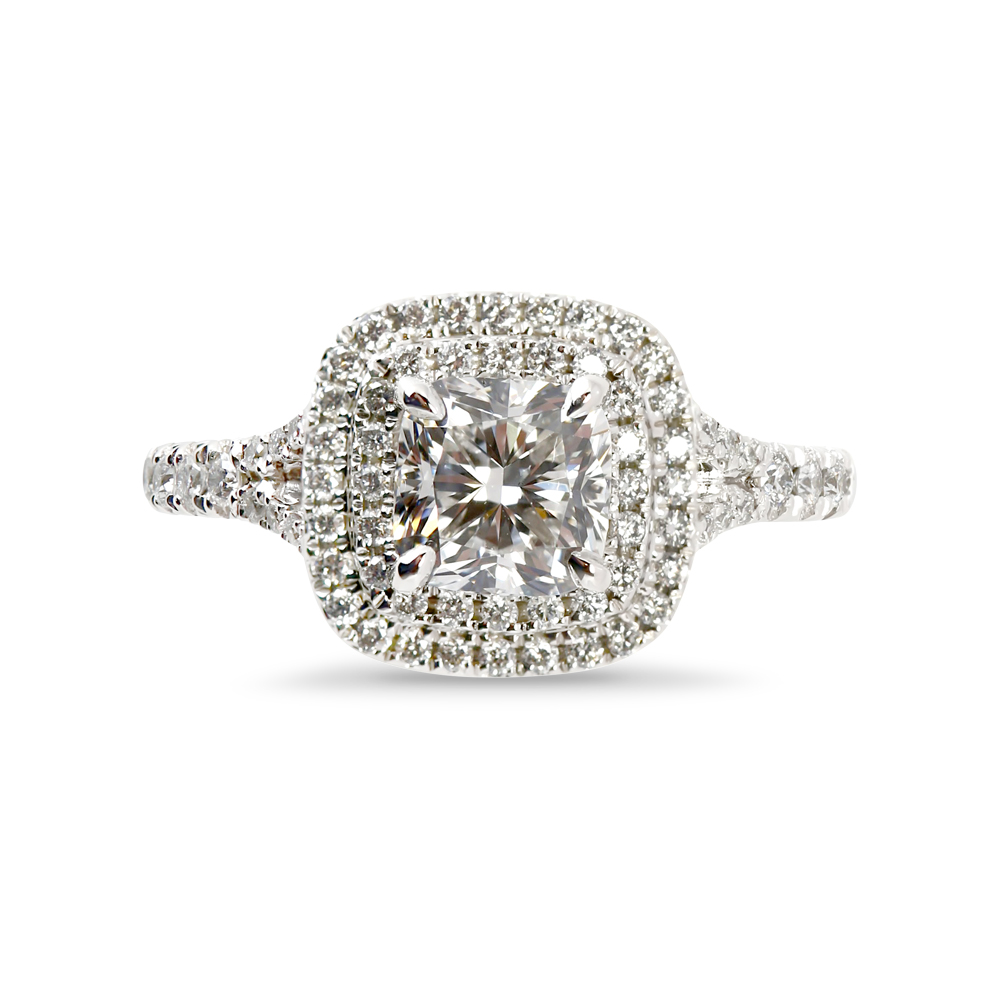Cushion Cut Diamond Double Halo Split Shank Engagement Ring