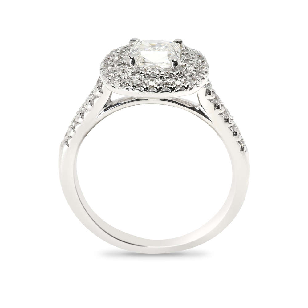 Cushion Cut Double Halo Diamond Engagement Ring