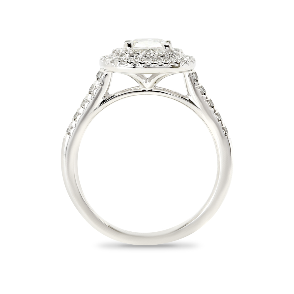 Cushion Cut Lab Grown Diamond Double Halo Engagement Ring