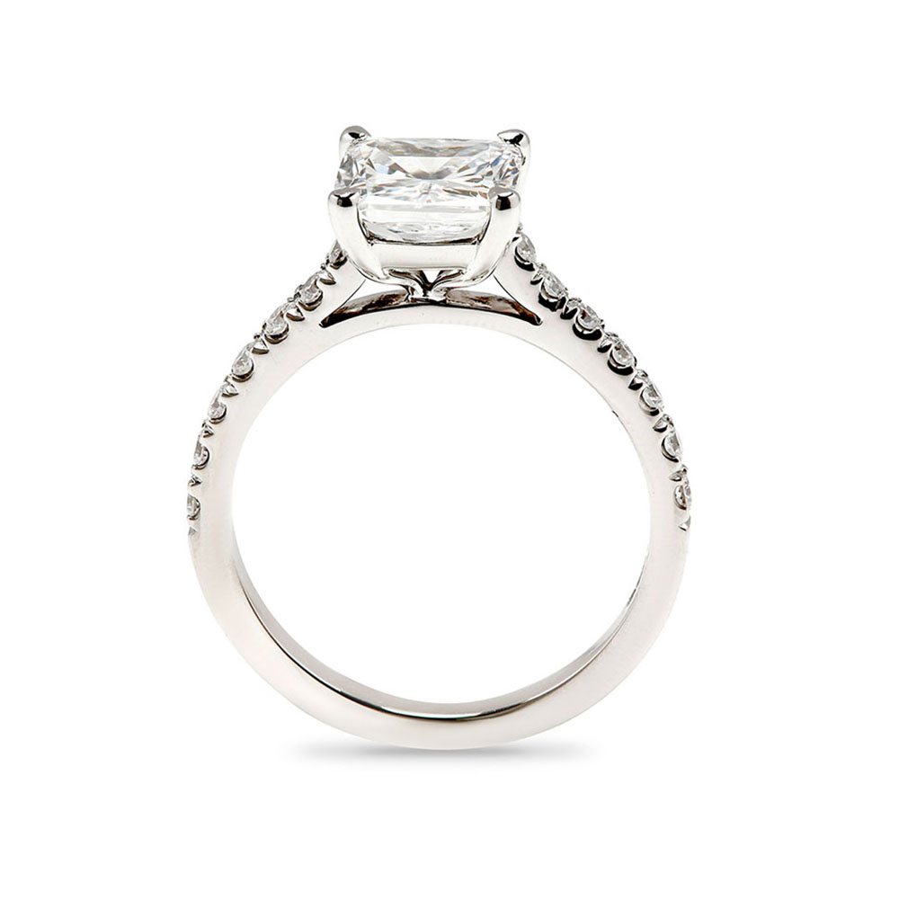 Four Claw Cushion Cut Diamond Micro Setting Engagement Ring