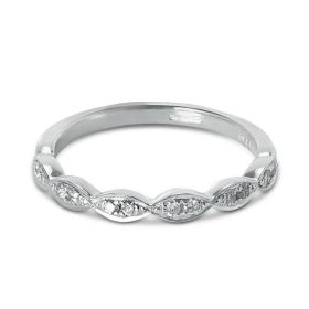 0.11ct Decorative Diamond Setting Half Band Diamond Wedding Ring
