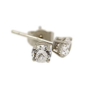 18kt White Gold Four Claw 0.40ct Total Diamond Earring Studs