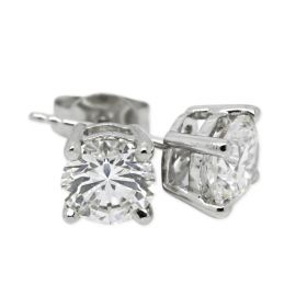 18kt White Gold Four Claw 1ct Total Diamond Earring Studs