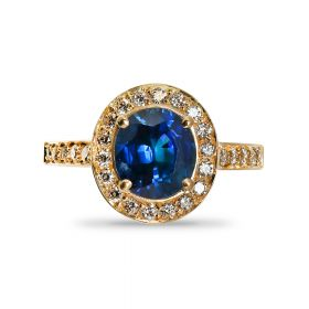 18kt Yellow Gold Oval Cut Halo Blue Sapphire Double Halo Diamond Engagement Ring Top View