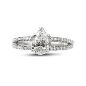 Split Shank Double Halo Radiant Cut Diamond Cocktail Ring