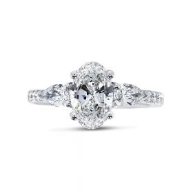 Oval Cut Side Trilliant Diamond Engagement Ring Side View