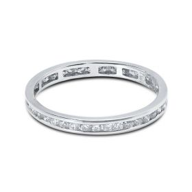 2.2mm Round Cut Channel Setting Full Diamond Eternity Ring 0.50ct