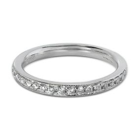 2.5mm Grain Set Ring Half Band Diamond Wedding Ring