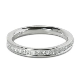 2.7mm Channel Setting Princess Cut Half Band Diamond Wedding Ring