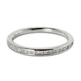 2mm Channel Setting Princess Cut Half Band Diamond Wedding Ring