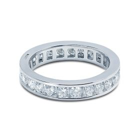 3.5mm Round Cut Channel Setting Full Diamond Eternity Ring 1.40ct
