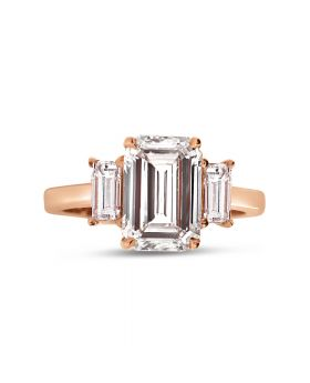 Radiant Cut Trilogy Diamond Engagement Ring Top View