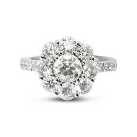 3ct Cluster Round Cut Diamond Cocktail Ring Top View