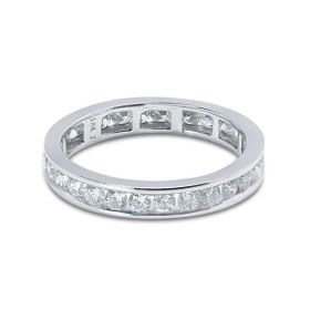 3mm Round Cut Channel Setting Full Diamond Eternity Ring 0.90ct