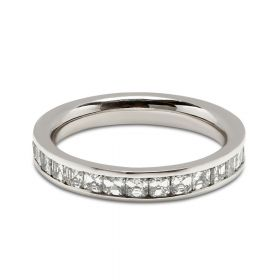3mm Channel Setting Asscher Cut Full Diamond Eternity Ring
