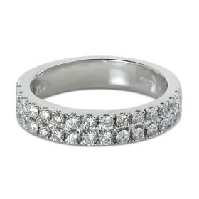 4mm Double Row Micro Setting Diamond Wedding Ring