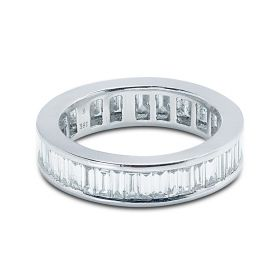 5mm Baguette Cut Channel Setting Full Diamond Eternity Ring