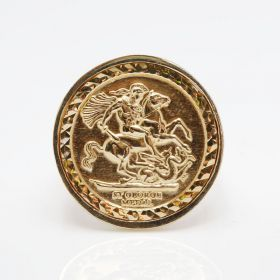 9ct Yellow Gold Half Size Sovereign Medallion Ring