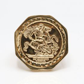9ct Gold Octagon half size sovereign Medallion Ring