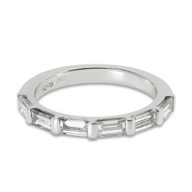 Baguette Cut Wedding Half Band Diamond Wedding Ring
