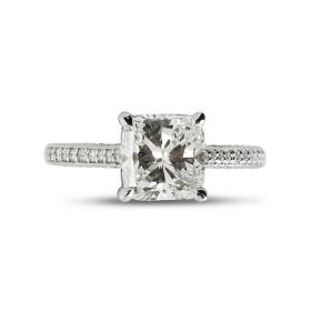 Bespoke Cushion Diamond Engagement Ring Top View