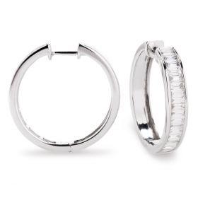 Baguette Cut Diamond Channel Set Hoop Earrings