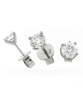 V Shape Claw Set Diamond Earrings Studs