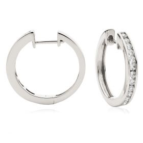 Channel Set Round Cut Diamond Hoop Earrings