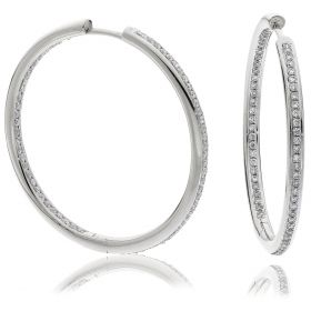 Grain Set 0.9ct Round Diamond Hoops Earrings