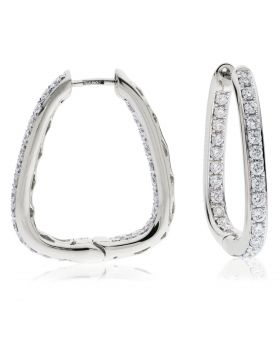 Square Grain Set Diamond Hoops Earrings