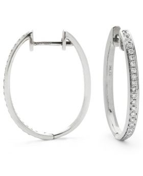 Grain Set Round Diamond Hoops Earrings