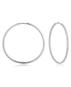 Round Shape Micro Set Diamond Hoops Earrings