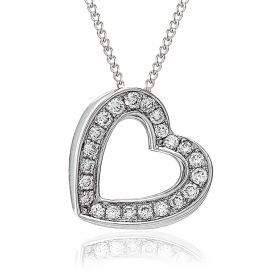 3D Heart Pave Diamond Necklace