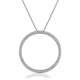 Circle 1ct Grain Set Round Diamond Necklace