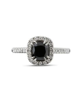 Black Diamond Halo Engagement Ring Top View