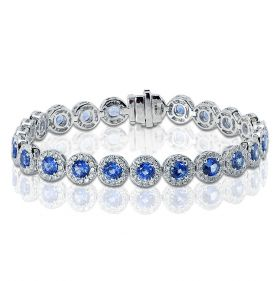Blue Sapphire Diamond Halo Tennis Bracelet