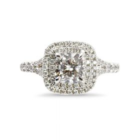 Cushion Cut Diamond Double Halo Split Shank Engagement Ring Top View
