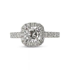 Cushion Halo Diamond Engagement Ring top view