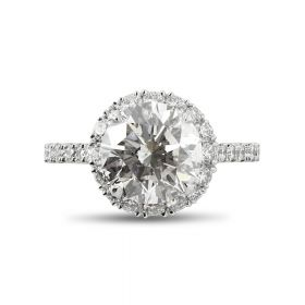 Diamond Halo Bespoke Engagement Ring Top View