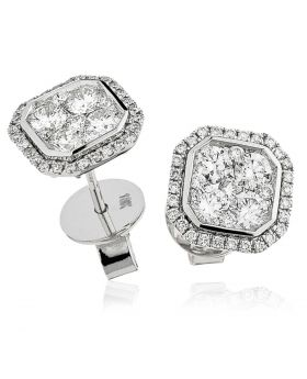 Radiant Shape Pave Diamond Earrings Studs