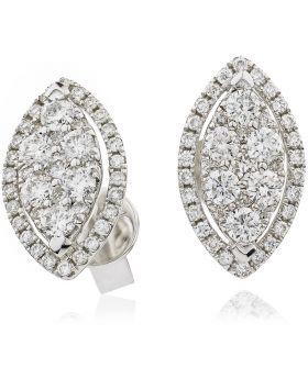 18kt White Gold Round Halo 0.30ct Total Diamond Earring Studs