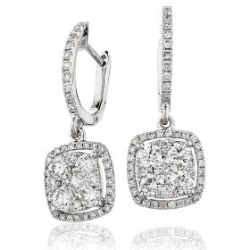Pave Droop Hoops Diamonds Earrings