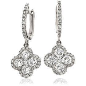 Clover Halo Pave Set Drop Hoops Diamond Earrings