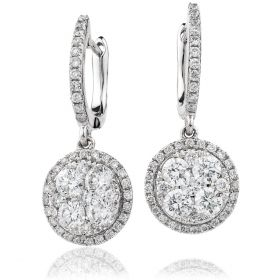Halo Pave Drop Hoops Diamond Earrings