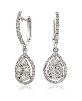 Open Halo Pave Drop Hoops Diamond Earrings