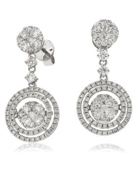 2 Row Round Moveable Drop Diamond Earrings
