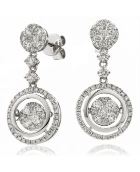 Round Shape Moveable Drop Diamond Earrings