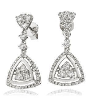 Triangle Shape Moveable Drop Diamond Earrings